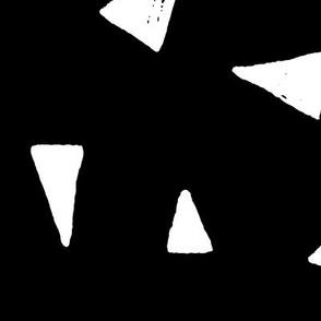 JUMBO triangle mix white on black doodled ink 500% scale