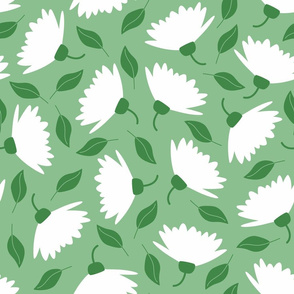 Jumbo white blossoms on sage green Wallpaper Fabric