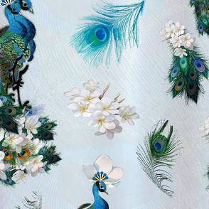 peacocks_feathers on pale light-blue silk