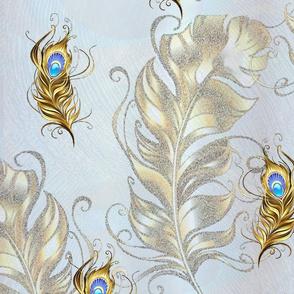 vintage golden peacock feathers on silk