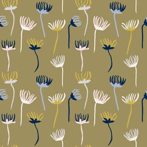 ink flowers on ochre