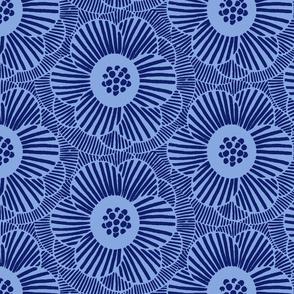 overlapping camellia/blue/medium