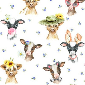 Farm Cow Chic – blue flowers, SMALLER scale