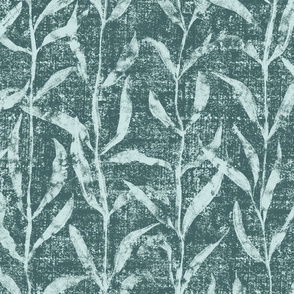 Grass Cloth with leaves in Pine and Mint