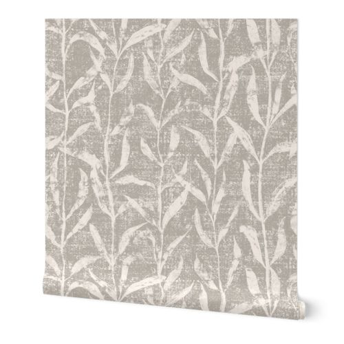 Grass Cloth with leaves in Gray and Cream