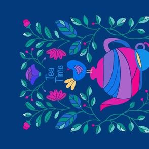 Folk Art TeaTowel on Blue