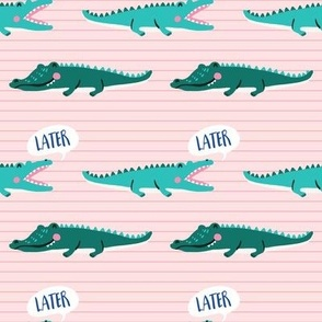 later gator // green alligators on a striped pink background