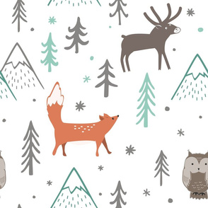 Forest trees, mountains, fox, owl and deer