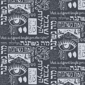 Passover Ma Nishtana on gray