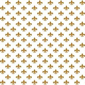 Half Inch Matte Antique Gold Fleur-de-lis on White