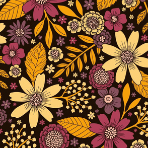 Purple, Yellow, Magenta & Gold Floral Pattern