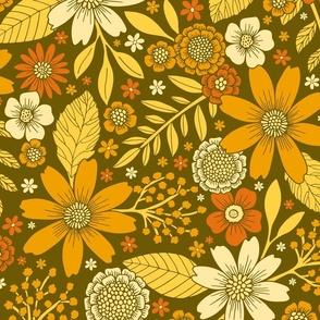 1970s Retro Flowers Pattern in Yellow, Orange & Olive Green