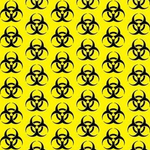 One Inch Black Biohazard Symbol on Yellow