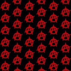 One Inch Red Anarchy Symbol on Black