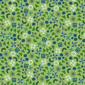 Green Flying Geese Modern Patchwork Print