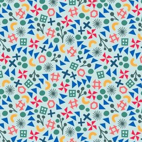 Light Blue Flying Geese Modern Patchwork Print