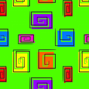 Geometric Square Swirls on Lime Green for Nugget Couch Design