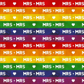Rainbow flag Mrs and Mrs, medium stripes