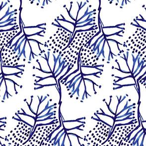 Classic Blue Folk Painterly Tree Small
