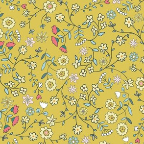 ditsy flowers meadow yellow - small scale