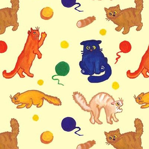 Funny multicolored playful cats on yellow background