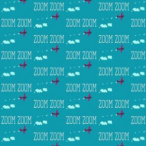 Zoom Zoom Plane Aqua and Hot Pink