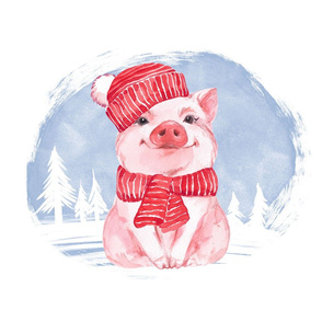 Pig in red hat. Fat quarter