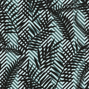leaves on chevron black and mint