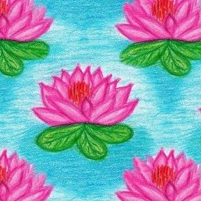 Pink Lotus flower in blue water