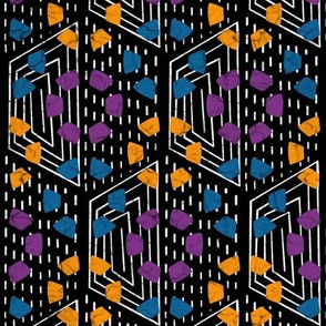 Wax print hexies - blue,yellow,purple