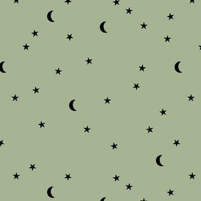 Dreamy boho night counting stars under the moon woodland camping trip spring summer sage green neutral SMALL