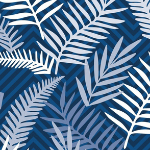 blue palm leaves on chevron