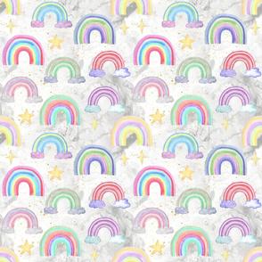 Rainbows watercolor white