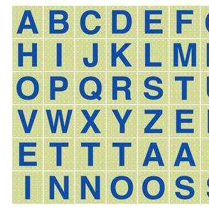Alphabet 2 inch Blue on Green