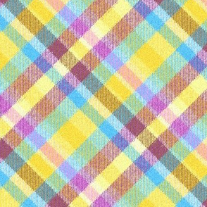 Fuzzy Look Madras Plaid in Soft Baby Pink Blue and Yellow