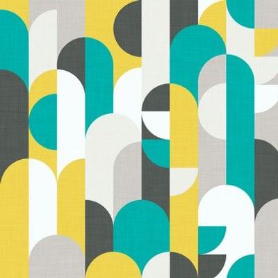 Scandinavian Geometric In Yellow & Turquoise - Small Scale