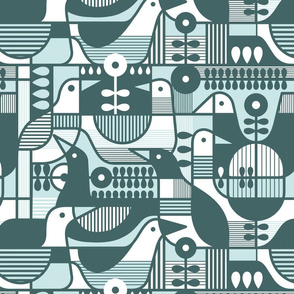 Pine and Mint Birds Throw Pillow - Geometric Mid Century Modern
