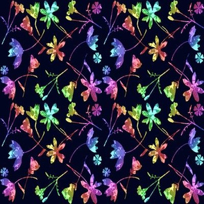 Micro Modern Quilt dark floral Rainbow