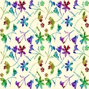 micro modern quilt rainbow flowers cream