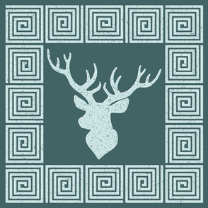 Pine and Mint  Deer Trophy Cushion