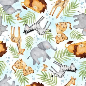 Jungle Animals (blue wash) - Kids Safari Animal Nursery Bedding, Lion Elephant Giraffe Zebra Rhino Cheetah, SMALLER scale