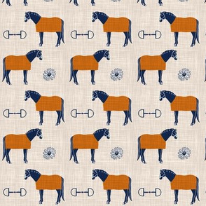 Horse Blankets and Daisies - Orange and Navy