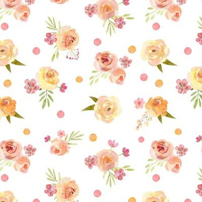 Lovely Spring Floral – Pink Peach Blush Flowers, SMALLER scale