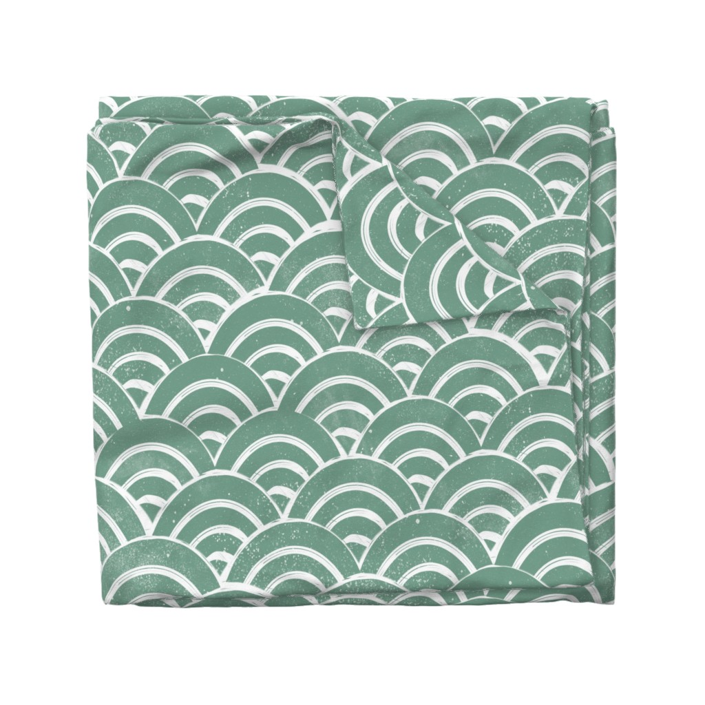 Wyandotte Duvet Cover featuring LARGE  Japanese Waves pattern fabric - seigaha fabric, wave fabric, wave pattern, ocean water fabric - ocean blue by andrea_lauren
