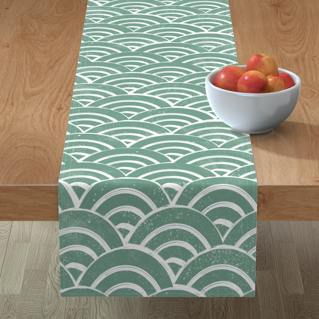 Minorca Table Runner featuring LARGE  Japanese Waves pattern fabric - seigaha fabric, wave fabric, wave pattern, ocean water fabric - ocean blue by andrea_lauren