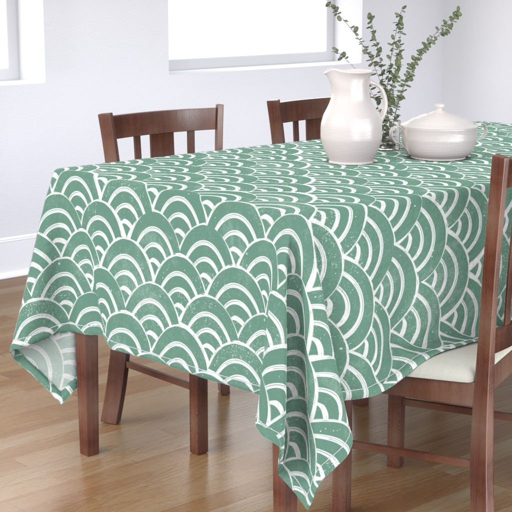 Bantam Rectangular Tablecloth featuring LARGE  Japanese Waves pattern fabric - seigaha fabric, wave fabric, wave pattern, ocean water fabric - ocean blue by andrea_lauren