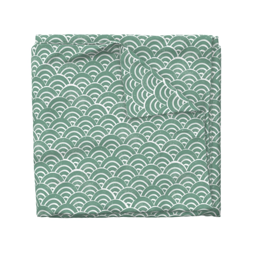 Wyandotte Duvet Cover featuring MED Japanese Waves pattern fabric - seigaha fabric, wave fabric, wave pattern, ocean water fabric - ocean blue by andrea_lauren