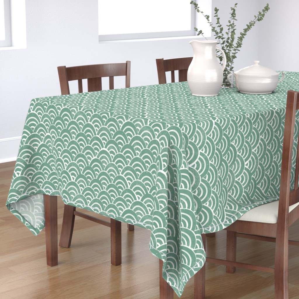 Bantam Rectangular Tablecloth featuring MED Japanese Waves pattern fabric - seigaha fabric, wave fabric, wave pattern, ocean water fabric - ocean blue by andrea_lauren