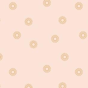 Let the sunshine in summer sunny day minimal Scandinavian style modern sun nursery design beige orange girls