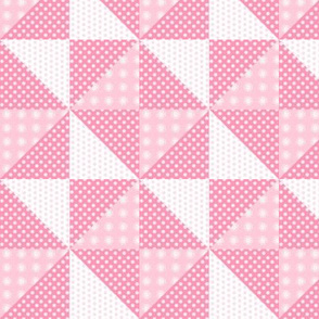 Quilt Block Pink Daisies and Dots